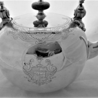 Superb armorial George II silver kettle on stand London 1736 Richard Bayley