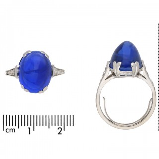 Art Deco Burmese cabochon sapphire and diamond ring, circa 1925.