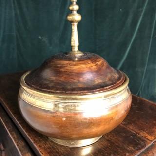 Brass bound elm tobacco box c1750