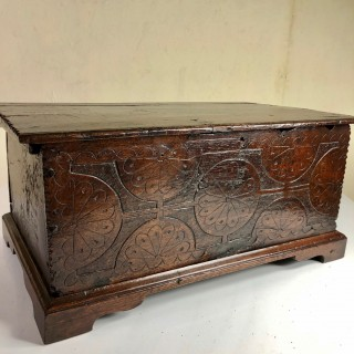 Small Oak Coffer Of Very Good Colour And Well Carved