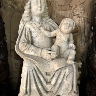 C1400 limestone sculpture of seated Madonna with 6 fingers on her right hand