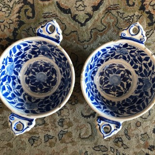 A Good pair of blue and white delft dishes. c1700