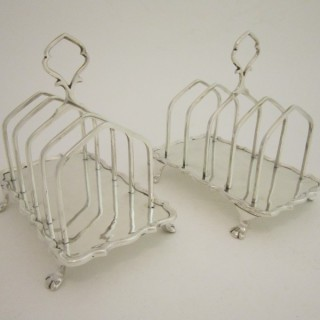 Antique Edwardian Sterling silver toast racks