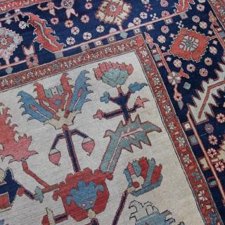 Rare ivory antique Serapi carpet