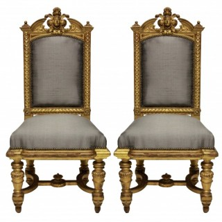 A PAIR OF FINE NAPOLEON III WATER GILDED CHAIRS