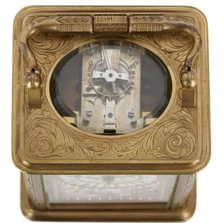 Sèvres style gilt bronze and porcelain carriage clock