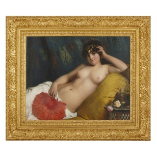 Large oil on canvas painting of an Odalisque by Costa