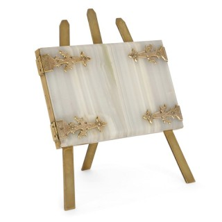 Antique English onyx, brass and velvet twin photo frame