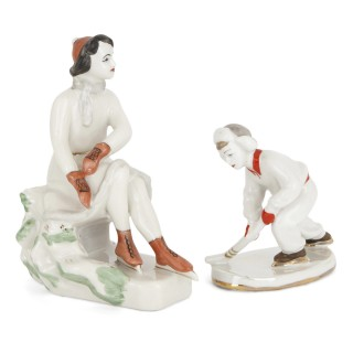 Collection of Lomonosov porcelain figurines with winter sports subject