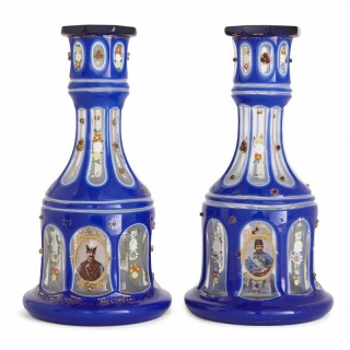 Pair of gilt and enamelled blue overlay clear cut glass huqqa bases