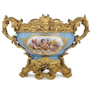 Sèvres style porcelain and gilt bronze centrepiece bowl