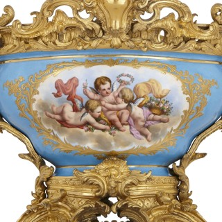 Sèvres style porcelain and gilt bronze centrepiece bowl