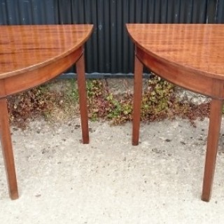 Pair of 18th Century George III Period Mahogany D-end / Console Tables