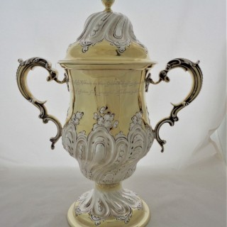 Fantastic boxed Victorian silver parcel gilt 2 handled cup&cover London 1896 Lamberts