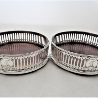 Lovely pair crested George III silver coasters London  1793 Michael Plummer