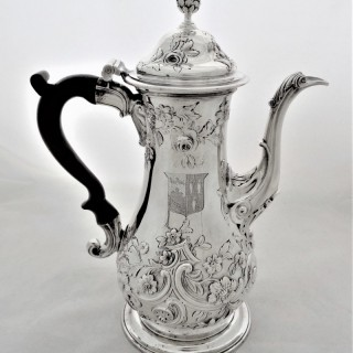 Super quality crest&armorial very early George III coffee pot London 1761 Smith&Sharpe