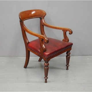 William IV Mahogany and Burgundy Leather Desk Chair