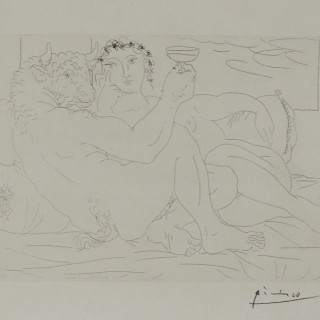 """Pablo Picasso Signed Etching """"Minotaure une Coupe à la Main et Jeune Femme"""" 1939"""