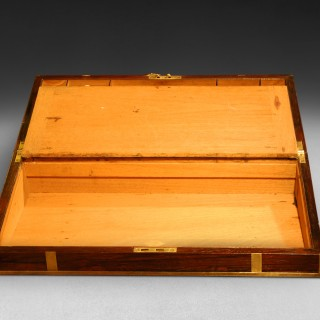 19th C. Rosewood and Brass bound Campaign Desk/Writing Slope