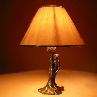 An Original Art Nouveau Period Amusing Table Lamp, Continental Germany/Austria Circa 1900.