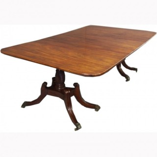 George IV Mahogany Twin Pillar Dining Table with 1 Leaf