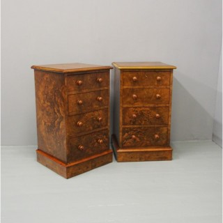 Pair of Victorian Figured Walnut Bedsides