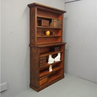 Victorian Burr Walnut Open Bookcase