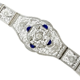 0.48ct Sapphire and 1.36ct Diamond, 14ct White Gold Bracelet - Antique Circa 1930