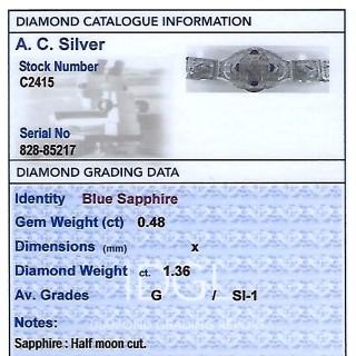 0.48ct Sapphire and 1.36ct Diamond, 14ct White Gold Bracelet - Antique Circa 1930