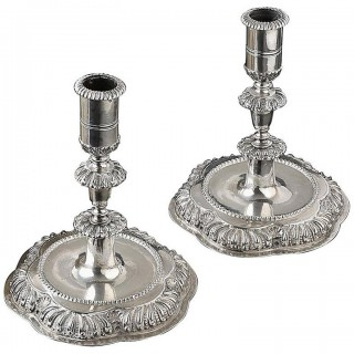 Fine Pair of Baroque Silver Candlesticks