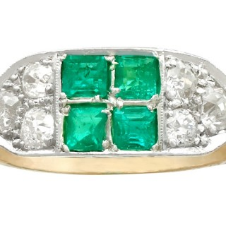 0.88ct Emerald and 1.10ct Diamond, 14ct Yellow Gold Dress Ring - Vintage Circa 1950