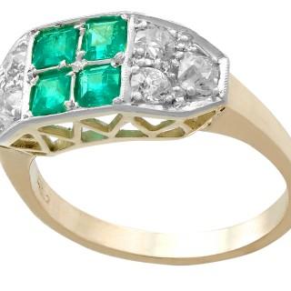 0.88ct Emerald and 1.10ct Diamond, 14ct Yellow Gold Dress Ring - Vintage Circa 1950