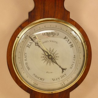 A Clean Rosewood Wheel Barometer, Signed: John White Ware. (Greater London) Second Half 19th Century.