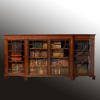Long Edwardian Mahogany and Inlaid bookcase