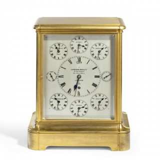 Giant English four glass table regulator with World Time dial and Perpetual Calendar by Lund & Blockley,