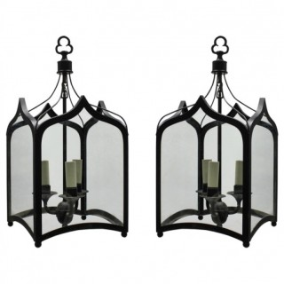 A PAIR OF GOTHIC HANGING LANTERNS
