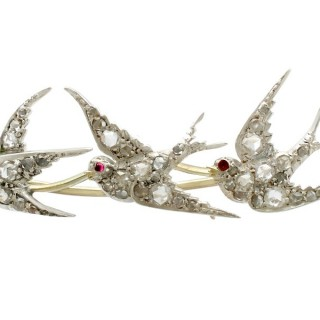 0.31ct Diamond and Ruby, 12ct Yellow Gold Swallow Brooch - Antique Victorian