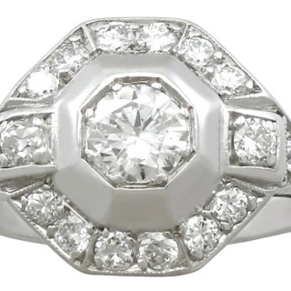 0.94 ct Diamond and Platinum Dress Ring - Art Deco - Vintage Circa 1940