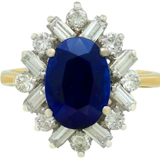 2.95ct Sapphire and 0.72ct Diamond, 18ct Yellow Gold Cluster Ring - Vintage 1983