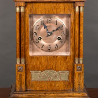 Arts and Crafts Oak Cased Mantel Clock