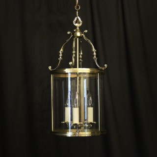 French Triple Light Convex Antique Hall Lantern