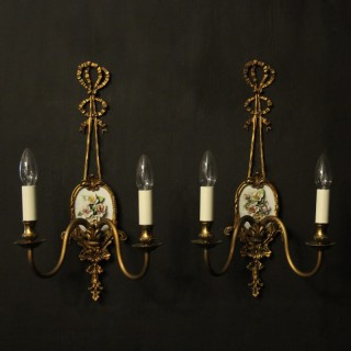 French Gilded Bronze Twin Arm Antique Lights
