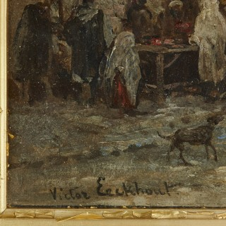 Oil on panel painting of market in giltwood frame by Eeckhout