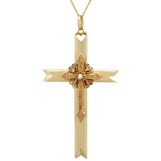 Seed Pearl and 14ct Yellow Gold Cross Pendant - Antique Victorian