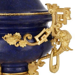 Chinese style lapis lazuli gemstone and gilt bronze vase