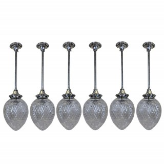 SIX EDWARDIAN HANGING PENDANT LIGHTS