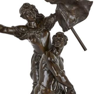 Antique patinated bronze sculpture by Gaudez