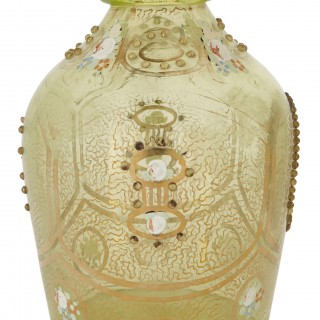 Bohemian green glass decanter with Mozaffar al-Din Shah portrait