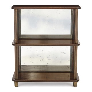 Two mirrored mahogany and brass étagère shelves