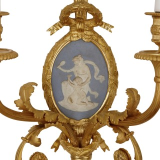 Set of four Louis XVI style jasperware and gilt bronze wall sconces